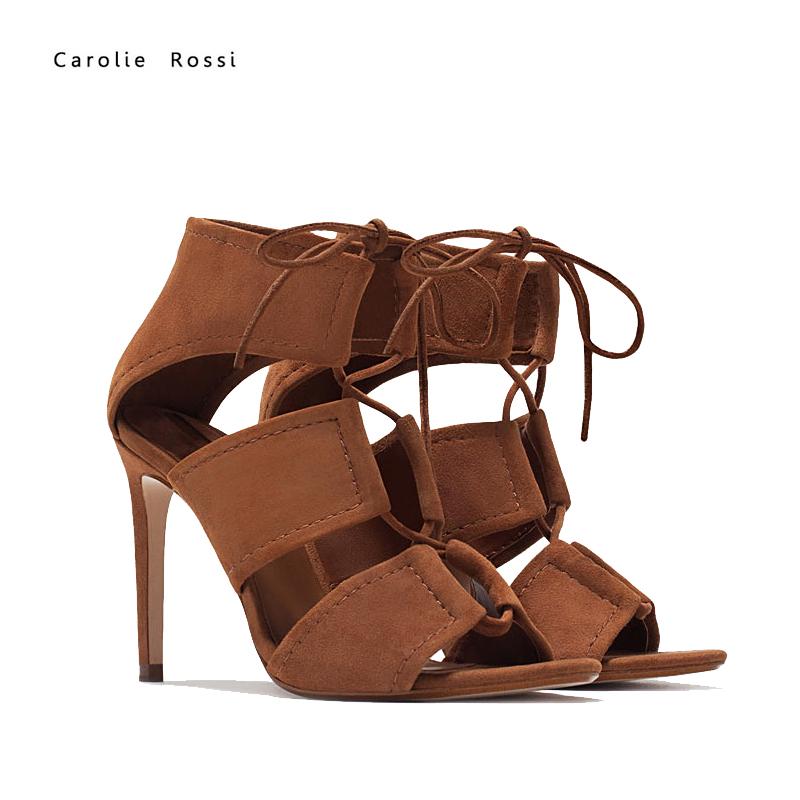 Ladies Fashion High Heel Sandals Women Lace Up Sandals Zapatillas ...