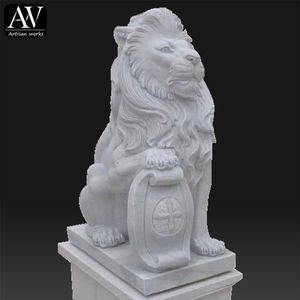 Western outdoor decoration life size indoor statue stone lion sculpture