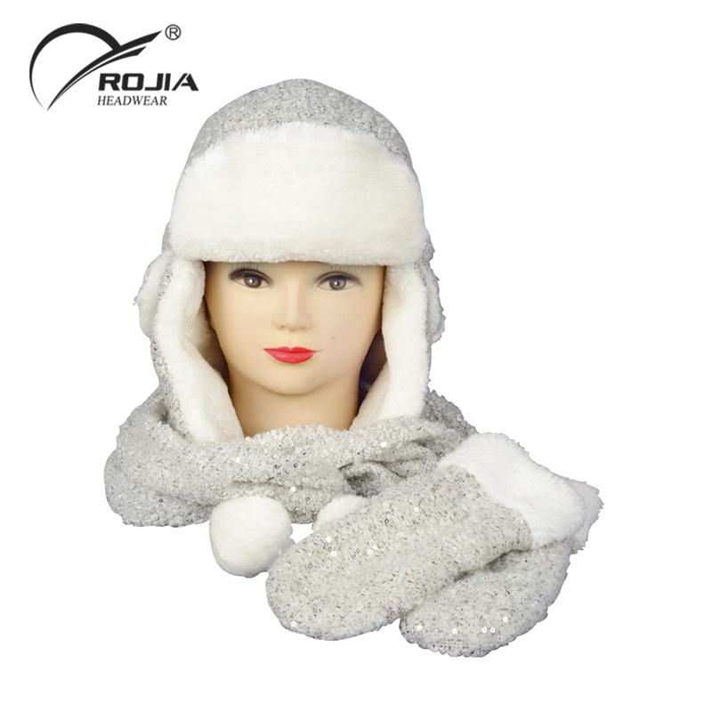fc9ed9b2 Eskimo Sequined Fabric Winter Hat With Synthetic Fur - Buy Hat ...