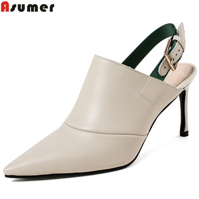 323 pointed new fashion Asumer toe heels 38388 shoes summer high women leather DX genuine Sn1nfYZ