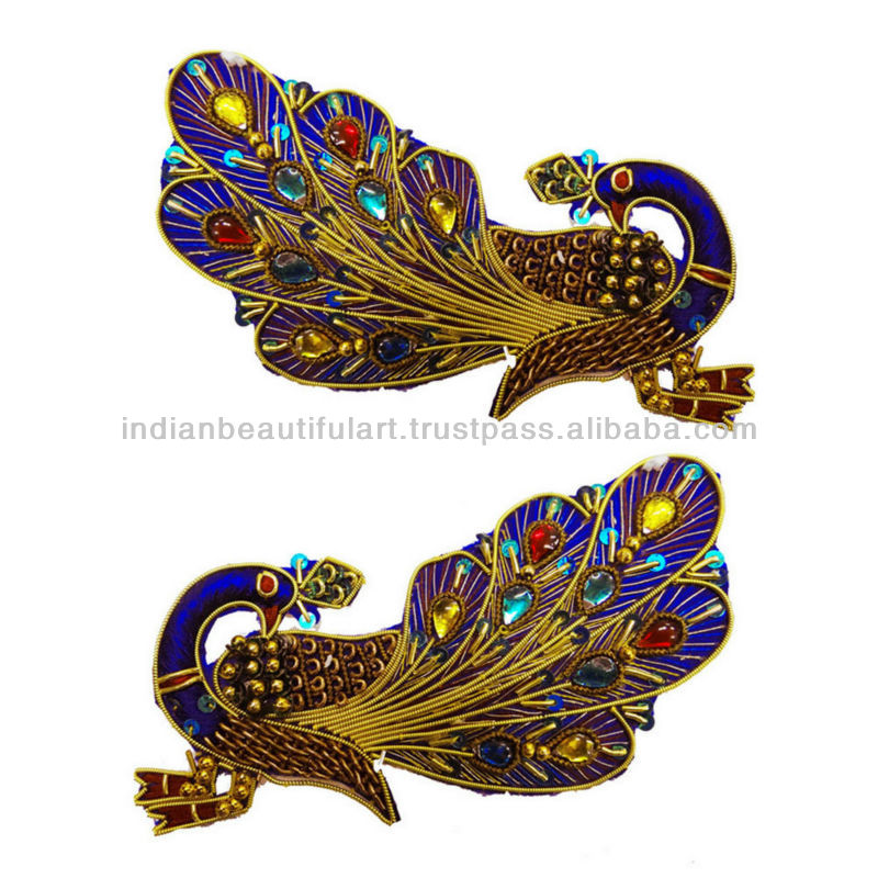 Multicolor Peacock Applique Thread Embroidered Long Patch Craft ...