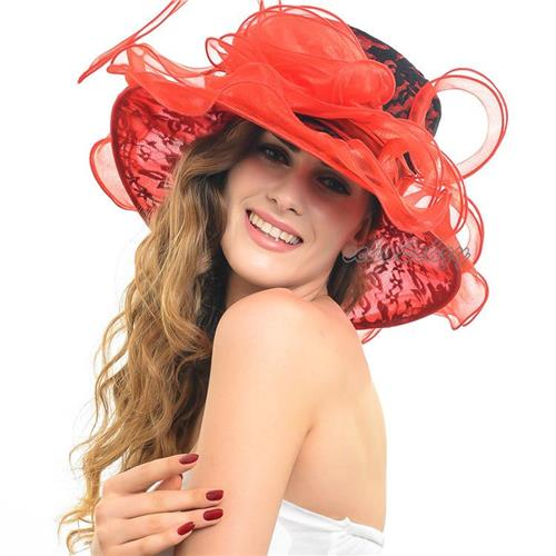 Get Quotations · Promotion Wide Brim Floppy Hats Organza Kentucky Derby  Ascot Church Hats for Ladies Fashion Wedding Bridal 44aa24ccee81