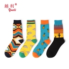 YUELI wholesale custom cotton fashion socks compression dress happy funny crew for mens business tube sock