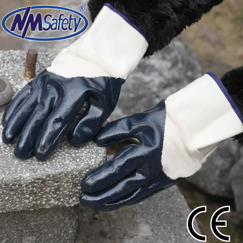 NMSAFETY open back anti sweat nitrile hard working gloves EN388 4111
