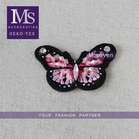 new arrival embroidery patch beaded pink butterfly design for applique