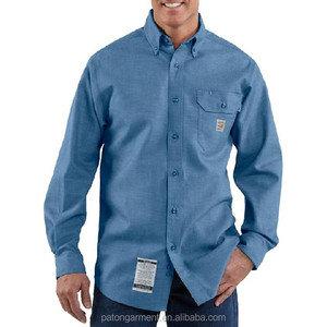 Custom Safty clothing Flame Resistant Snap Front Long Sleeve Shirt workwear