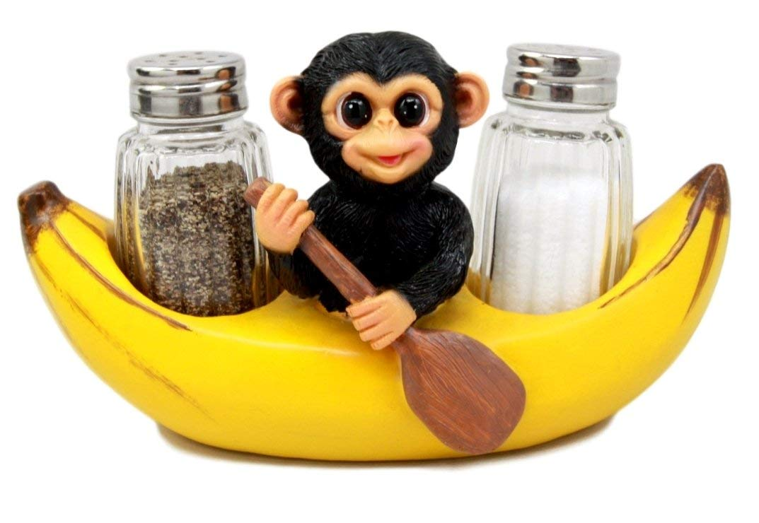 Atlantic Collectibles Baby Monkey Rowing In Banana Boat Salt & Pepper Shakers Holder Figurine Set