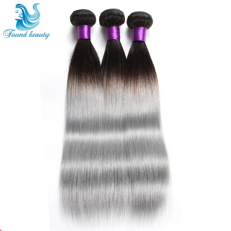 2015 Hottest NEW Silver Grey Ombre Human Hair 3Pcs/lot Ombre Silver Grey Hair Weave 1B/gray Two Tone Brazilian Straight  Hair