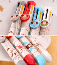Korean Cute Cartoon Stationery Pen Press 0.5mm Creative 8 Color Colorful Student Wholesale Pen