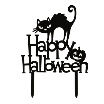 """Happy Halloween"" Acrylic Cake Toppers, Halloween Cat Pumpkin Cake Decorations for Halloween Festival"
