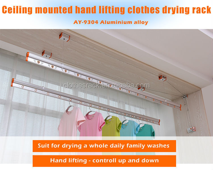 Lifting Ceiling Mounted Clothes Drying Rack Aluminum Cloth
