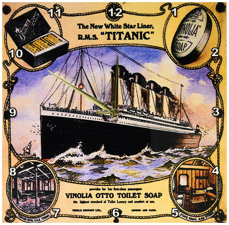 6 by 6 3dRose Vintage White Star Line Titanic Vinolia Otto Toilet Soap Advertising Poster-Desk Clock dc/_149245/_1