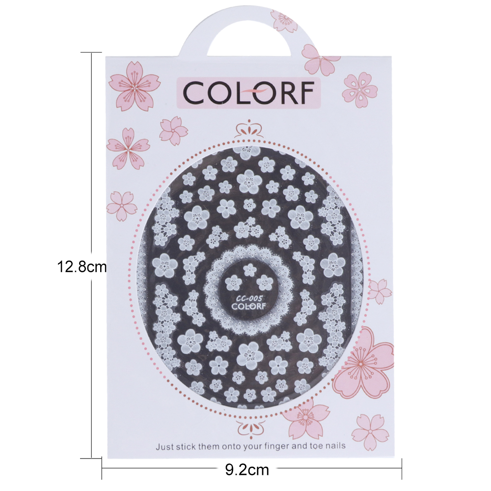 CC serie Nail Art Stickers Witte Bloemen Kant 3D Wraps Decal Zelfklevende Charm Vlinder Manicure Slider Decor Tips