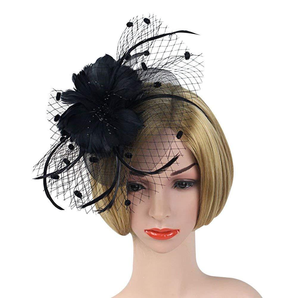 71e8d152d473 Buy ACTLATI Elegant Netting Flower Headband Charming Feather ...