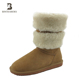 Fashion ladies fur outer decoration boot slip resistant winter boots with fur inside