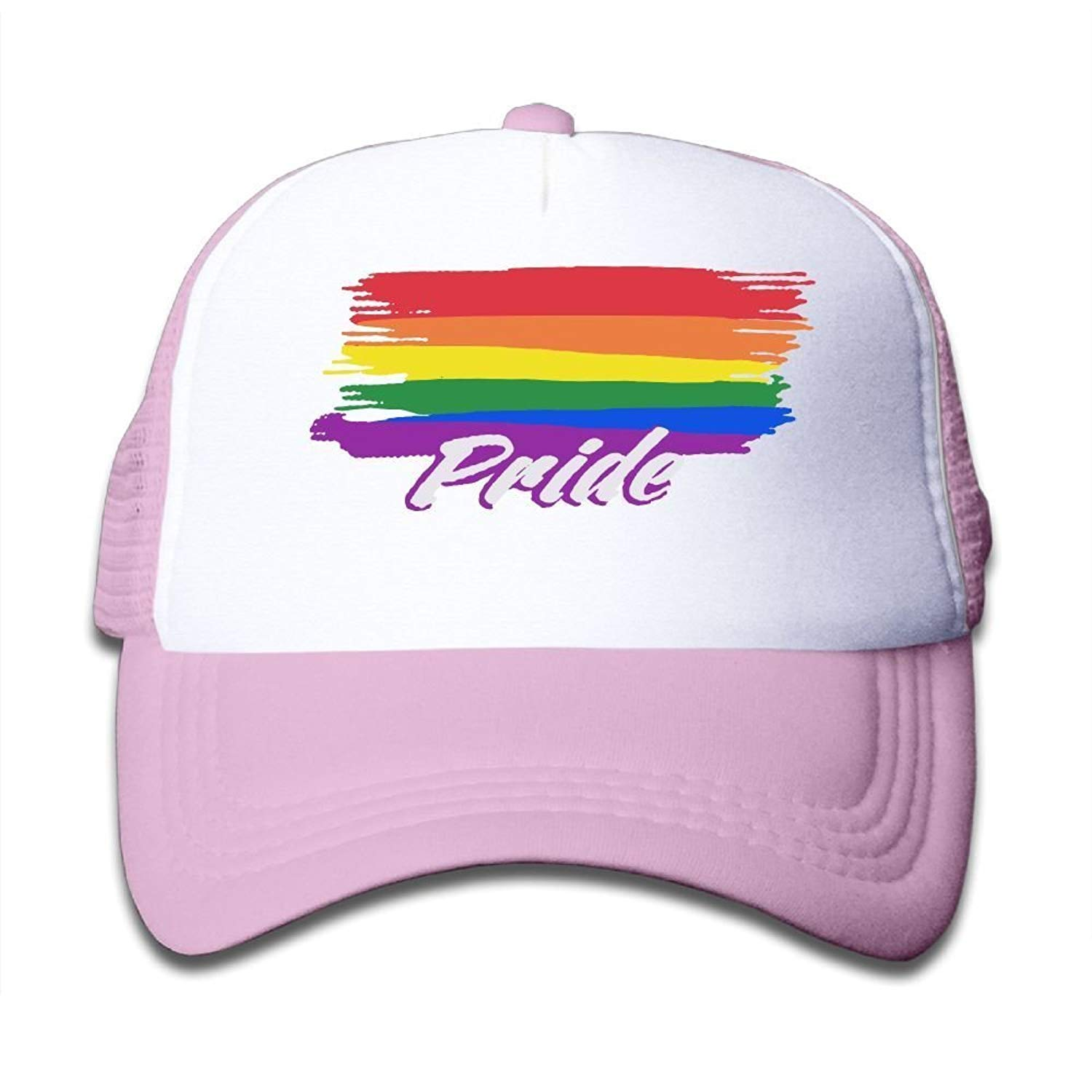 5d934262eb7b0 Get Quotations · BOYGIRL-CAP Rainbow Gay Lesbian Pride Kids Toddler Boys  Girls Adjustable Mesh Cap Trucker Hat