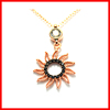 diamond rose gold fashion sun flower charm necklace