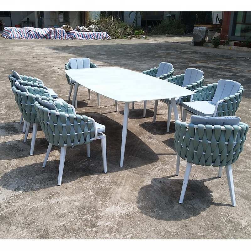 Astonishing High Quality Outdoor Furniture Marble Top Aluminium Frame Rope Woven Dining Table And Chairs Set Buy Marble Dining Table Set Woven Rope Uwap Interior Chair Design Uwaporg