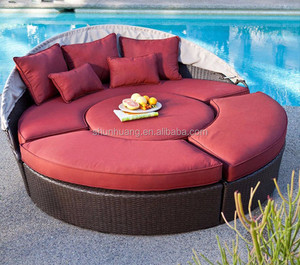 round shape wicker furniture PE rattan beach day bed with canopy