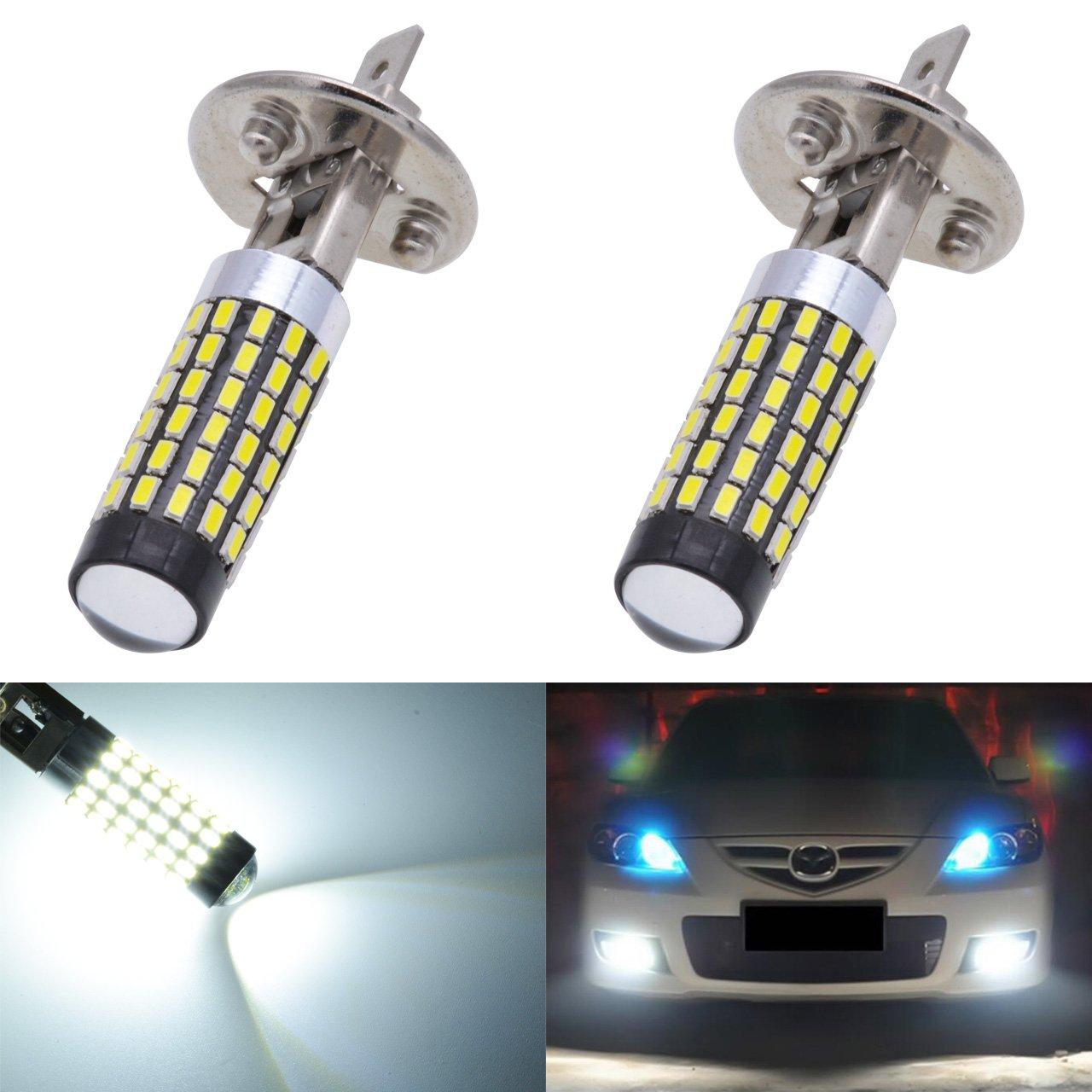 KaTur 2pcs 900 Lumens H1 Base Super Bright 3014 78SMD Lens LED Bulbs Car Driving Daytime Running Lights Xenon White 6000K DC 12V-24V