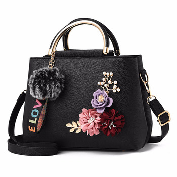 30% OFF Latest Model Trendy European Style Women Handbag Artificial Flower Decoration Lady Leather Hand Bag