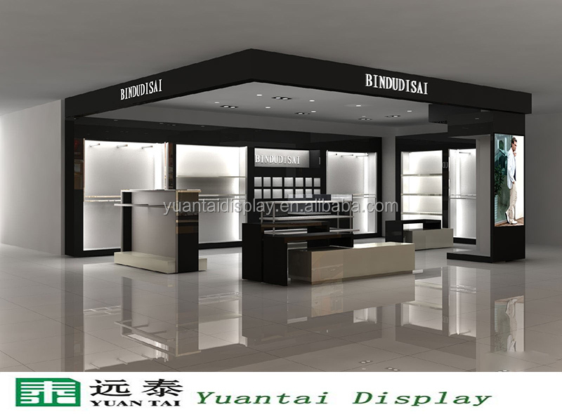 Elegant White Wooden Retail Display Cabinets Furniture For