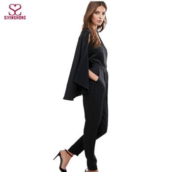 China Supplier Fashion V Neckline Black Formal Cape Jumpsuit For