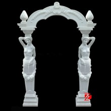 marble arch door frame with lady standing