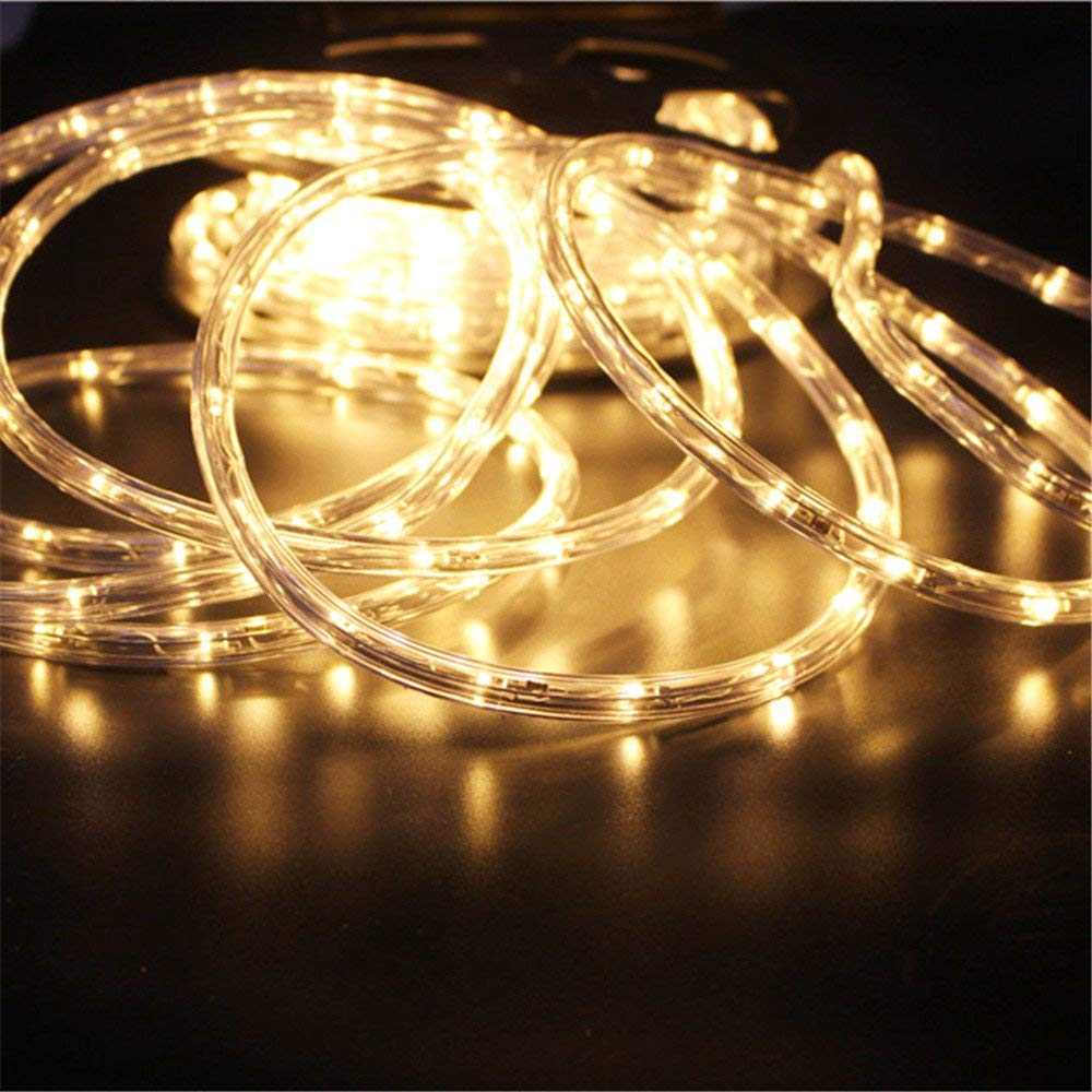PYSICAL® 110V 2-Wire Waterproof LED Rope Light Kit for Background Lighting,Decorative Lighting,Outdoor Decorative Lighting,Christmas Lighting,Trees,Bridges,Eaves (50ft/15M, Warm White)