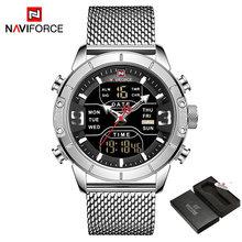 NAVIFORCE 2019 мужские военные водонепроницаемые светодиодный кварцевые спортивные часы военные из нержавеющей стали сетка мужские деловые часы(Китай)