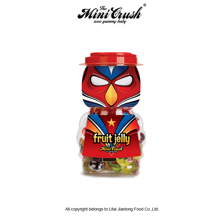 Cup Shape Assorted Fruit Jelly Candy In Hero Series Jar