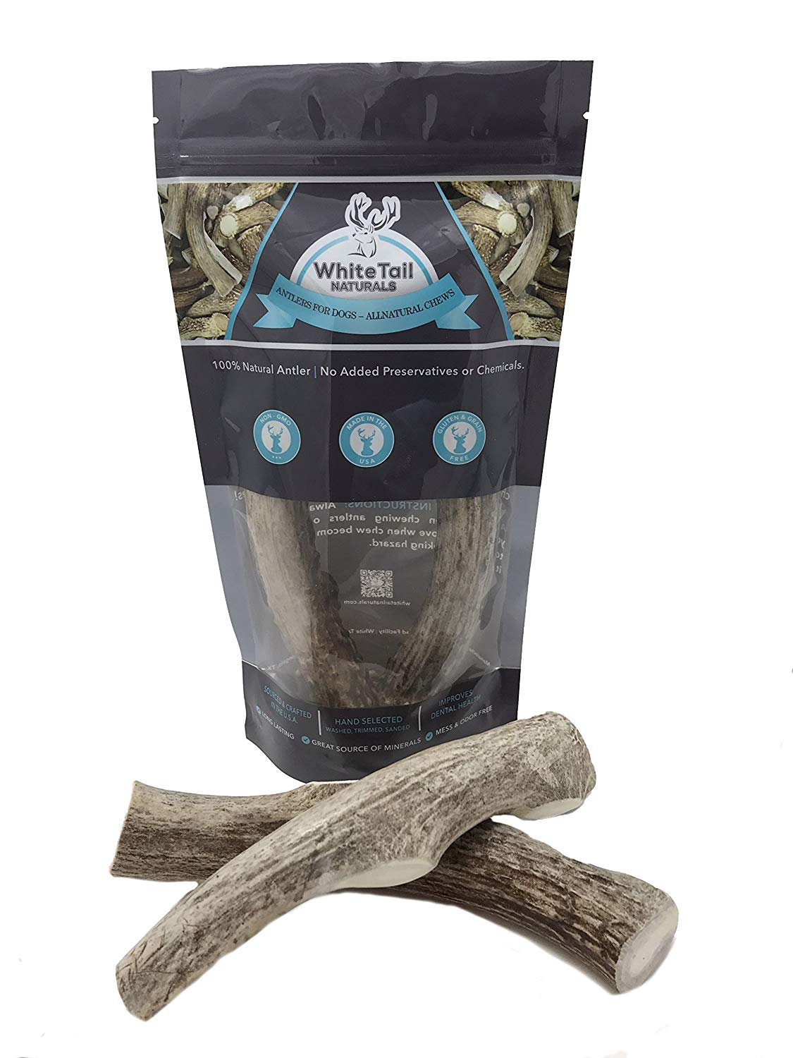 WhiteTail Naturals 2 Pack - Large, Premium Deer Antlers for Dogs, All Natural Dog Chews - Grade A