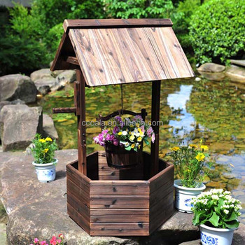 Outdoor Garden Wishing Well Rustic Wooden Patio Flower Planter Yard