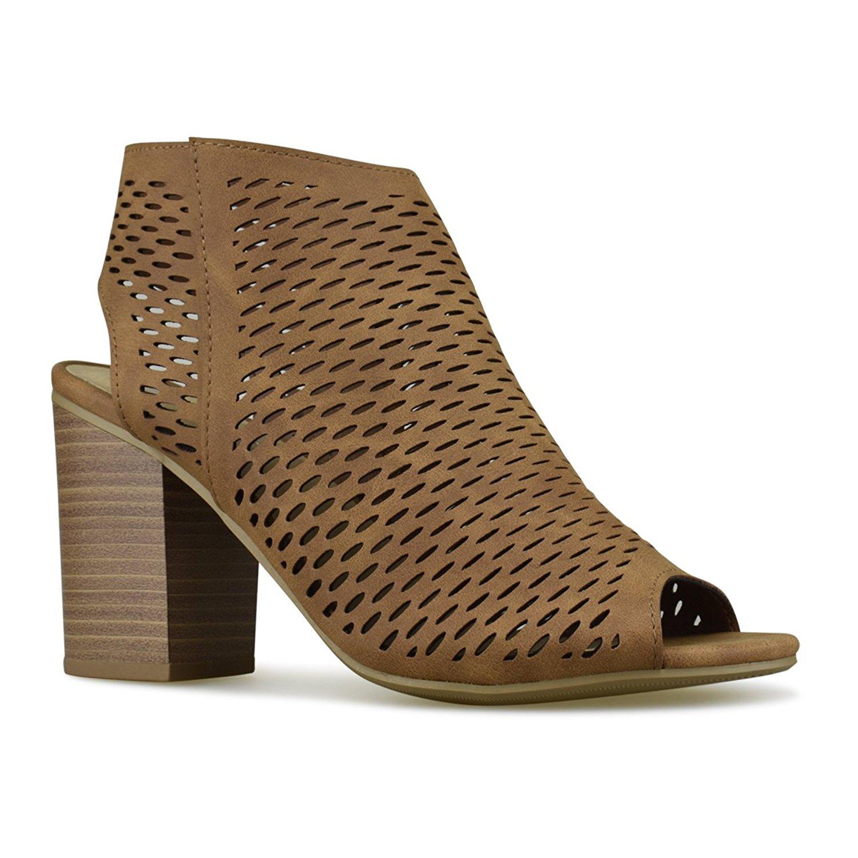 Premier Standard Women's Cut Out Velcro Strap Bootie - Slip On Low Stacked Heel - Open Peep Toe Cutout Shoe