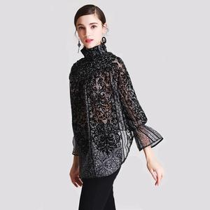 clothing fashion 2019 flocking print silk blouse for women