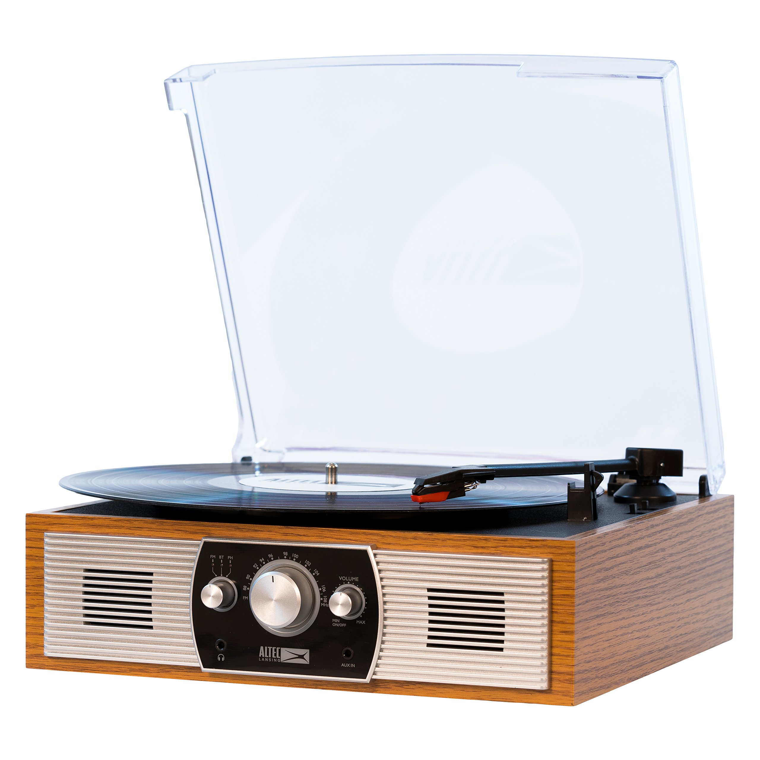 Get Quotations · Altec Lansing Belt Drive Stereo Turntable with Bluetooth FM Radio and Built In