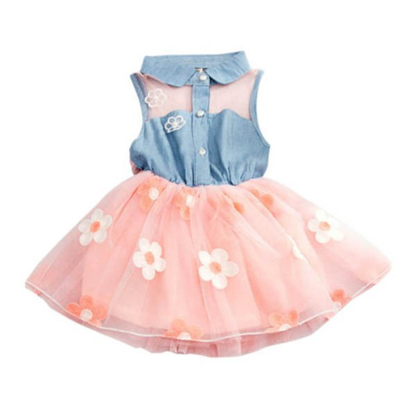 Fashion Children Baby Kids Girls Princess Dress Denim Shirt Tulle Dress Tutu Clothes
