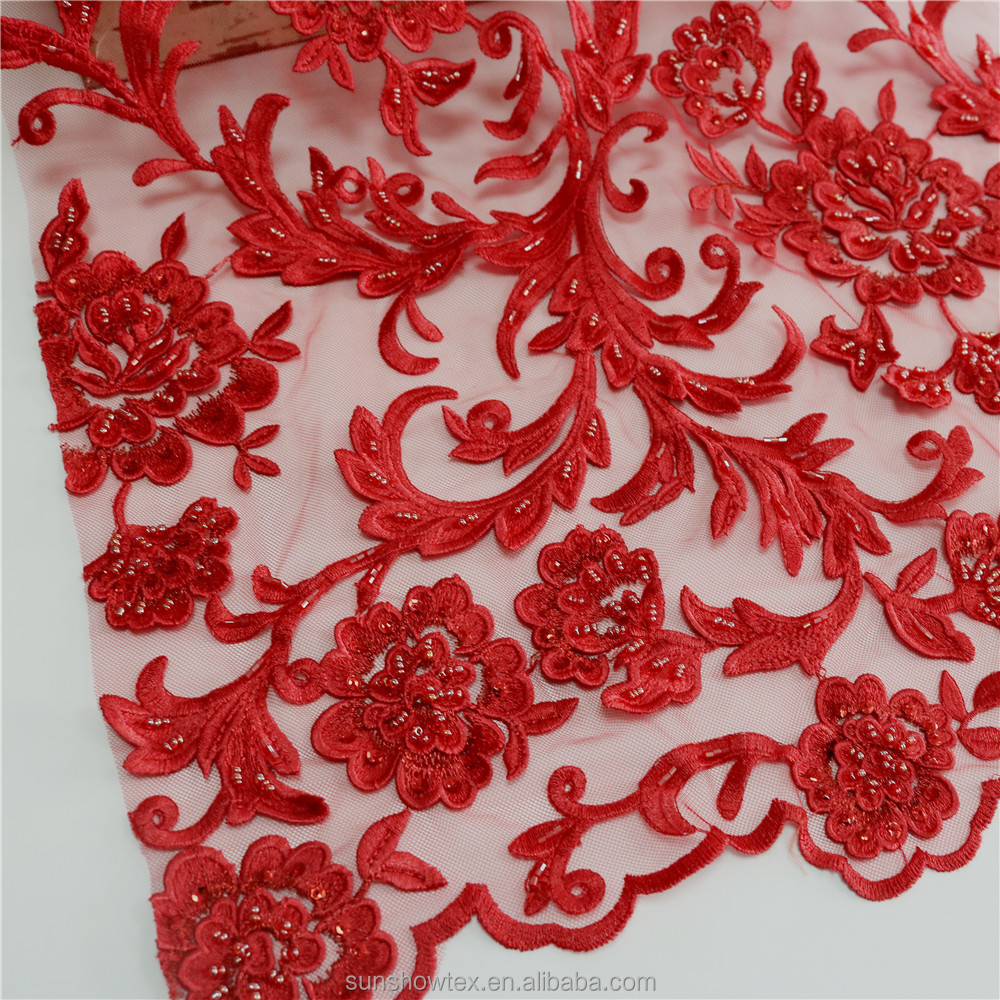 Indian Embroidered Netting Fabric Beaded Heavy Lace Fabric For Dresses