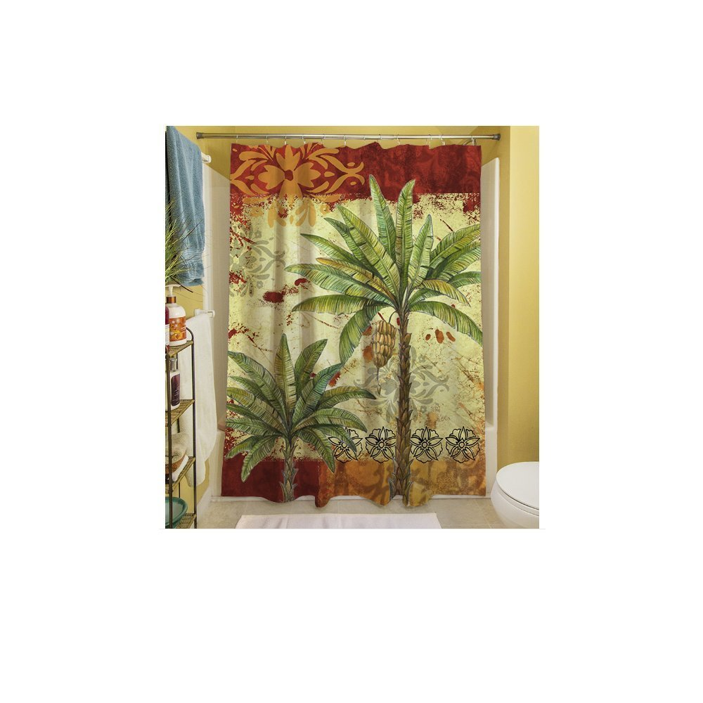 1 Piece Red Tropical Themed Shower Curtain, Palm Tree Hawaiian Bathroom Pattern, Palms Graphic Hawaii Style Polyester Floral, Beach Ocean Sea Caribbean Red Gold Green Yellow Multi