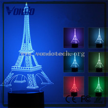 Amazing optical illusion eiffel tower 7 different color is adjustable 3d led night light