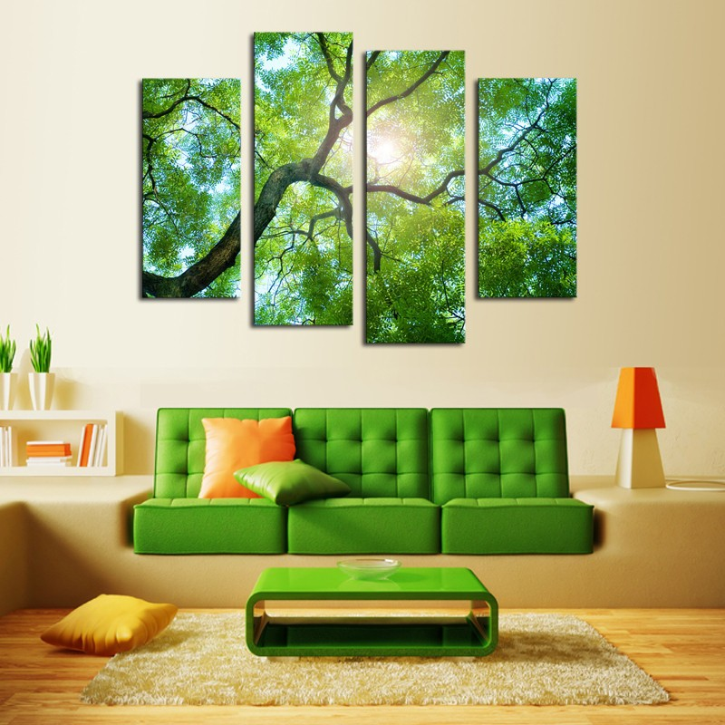 Green Tree Sunset Canvas Art High Quality Great Value