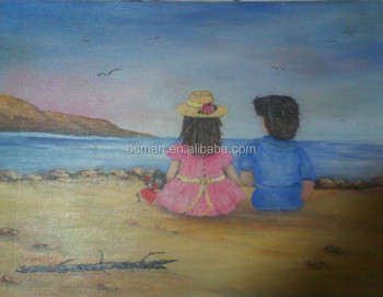 Warm Scene Two Little Kids Sitting Together Beach Child Oil Painting For Wall Decoration