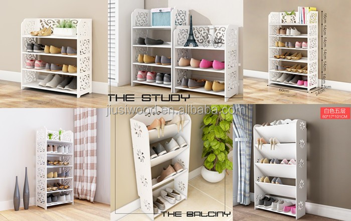 portable wooden shoe rack white solid wood shoe rack with 5 layers