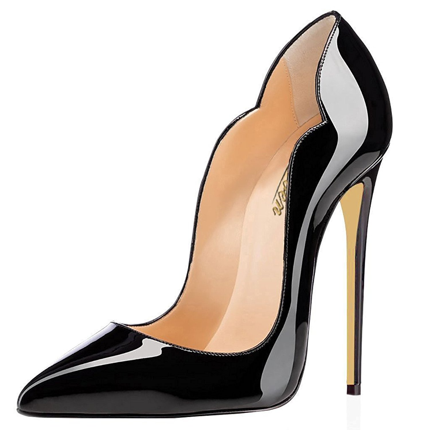 81a48c29a2 Get Quotations · Modemoven Women's Sexy Point Toe High Heels,Patent Leather  Pumps,Wedding Dress Shoes,