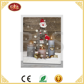 wall art christmas day print on canvas cheap china with light