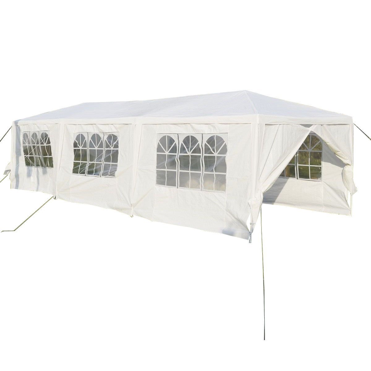 TANGKULA 10'x30' Outdoor Canopy Tent Heavy Duty Steel Frame with 6 Removable Sidewalls Waterproof Sun Snow Rain Shelter Canopy BBQ Party Wedding Event Tent Outdoor Gazebo, White