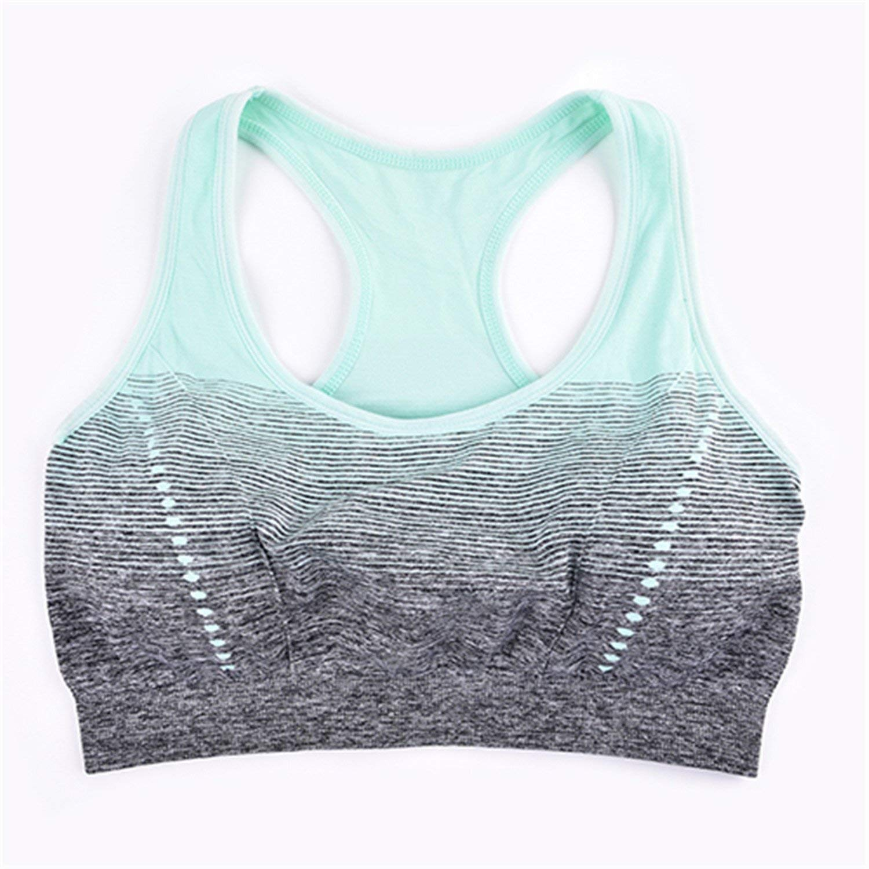 Gomis High Stretch Breathable Sports Bra Top Fitness Women Padded Sport Bra for Running Yoga Gym Seamless Crop Bra Gradient Green 30
