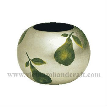 Quality eco-friendly handmade vietnamese lacquer pencil holder. In black & white silver leaf with hand-painted pears