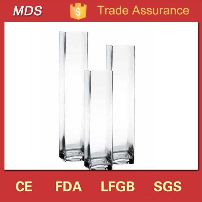 High quality clear cheap square 24 inch tall glass vases