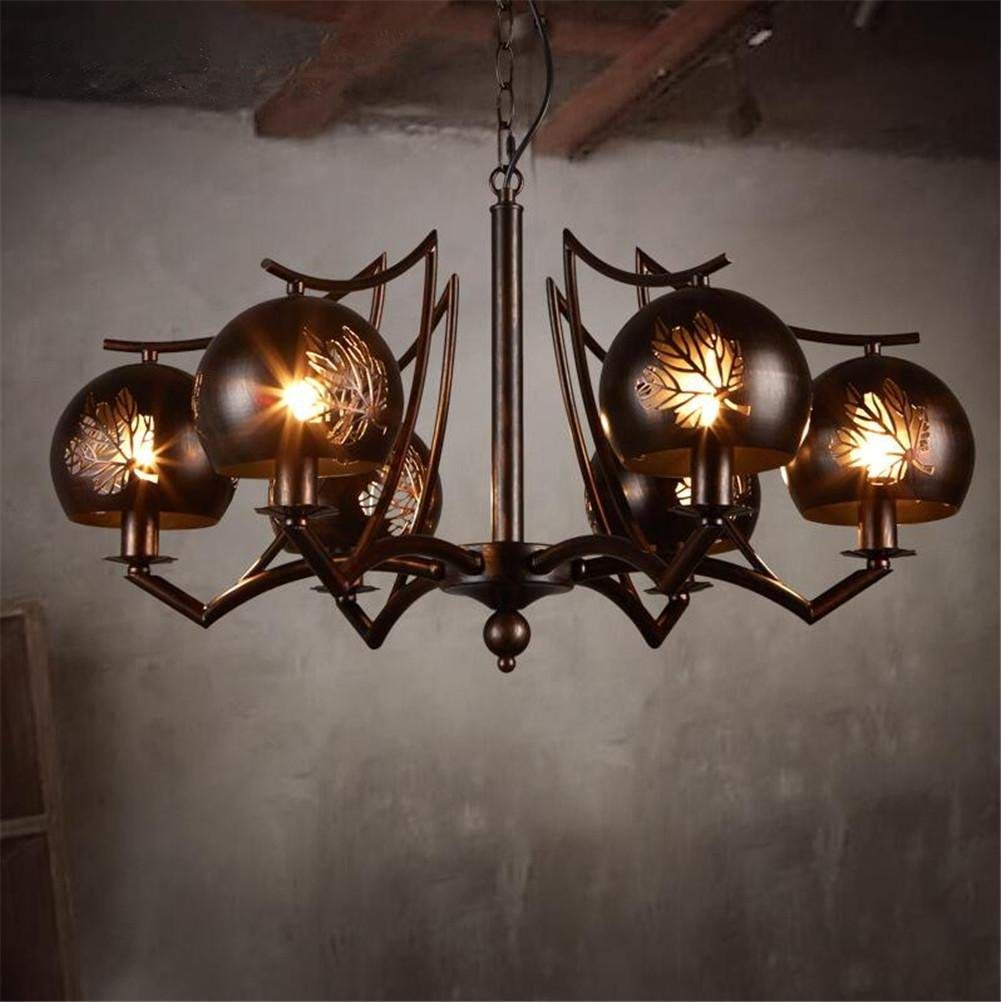 DHXY Retro Chandelier LOFT Industrial Vintage Wrought Iron Pendant Ceiling 6 Lights With Hollow Leaves Lampshade For Living Room, Bar, Cafe, Restaurant